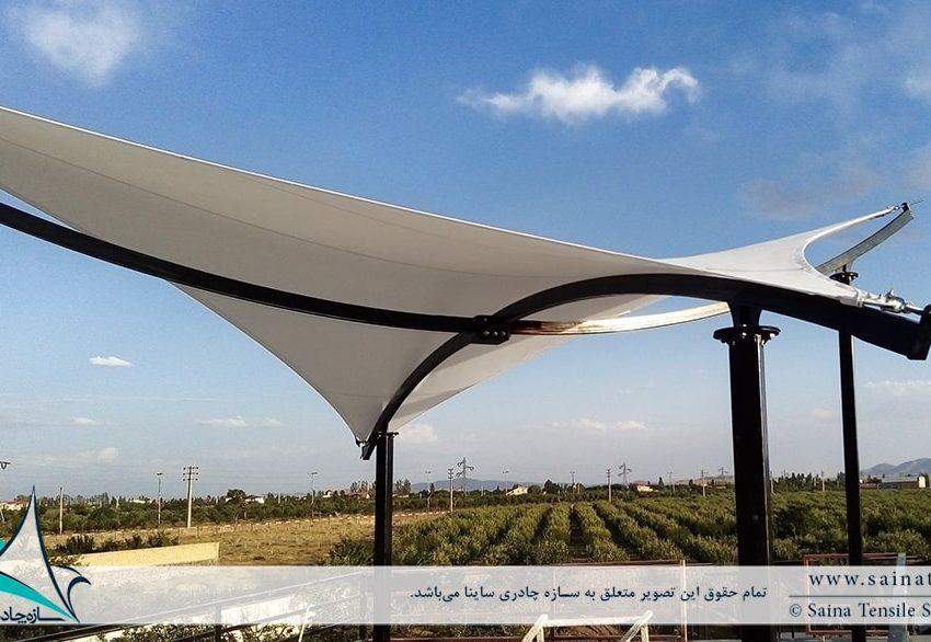 طراحی و اجرای سایبان پارچه ای پشت بام ویلای شخصی در آبسرد