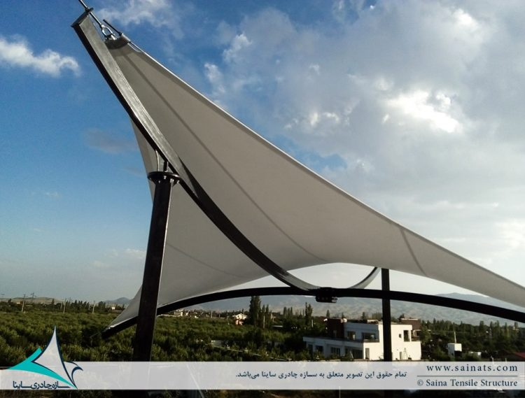اجرای سایبان پارچه ای پشت بام ویلای شخصی در آبسرد