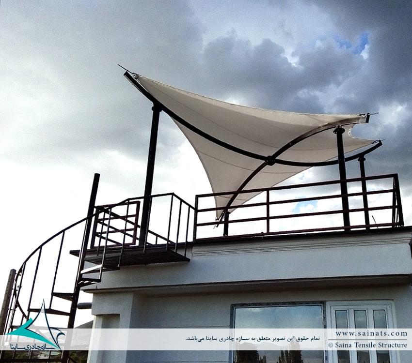 پروژه اجرای سایبان پارچه ای پشت بام ویلای شخصی آبسرد