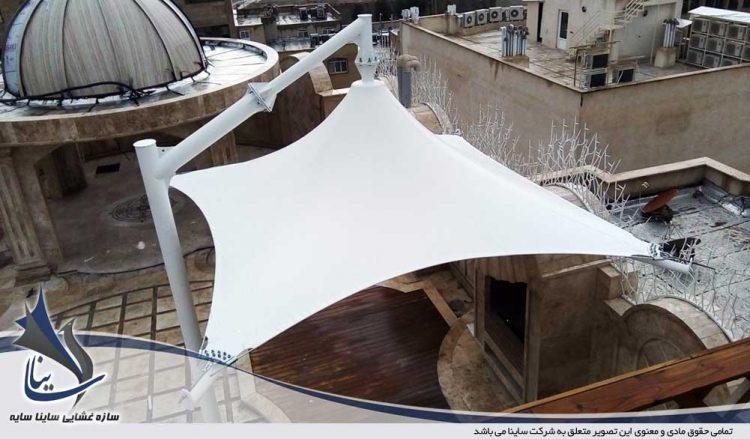 طراحی و اجرای آلاچیق پارچه ای پشت بام در قم