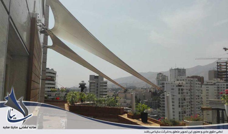 طراحی و اجرای سایبان پارچه ای روف گاردن در برج پردیسان الهیه