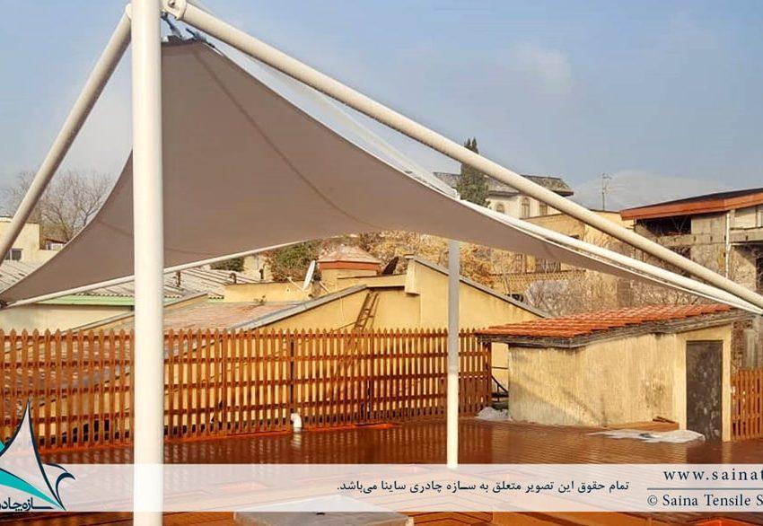 طراحی و اجرای سایبان چادری روفگاردن در شهرک غرب