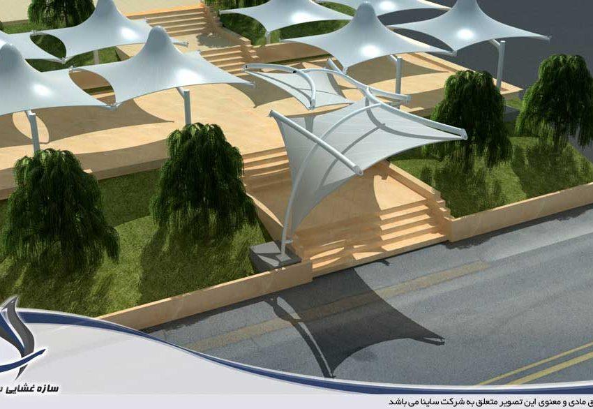 اجرای سایبان طرح سان شید در مجموعه صنایع دفاع