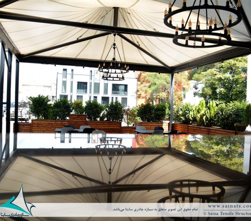 اجرای سقف چادری کافه رستوران ایستگاه نوآوری دانشگاه شریف
