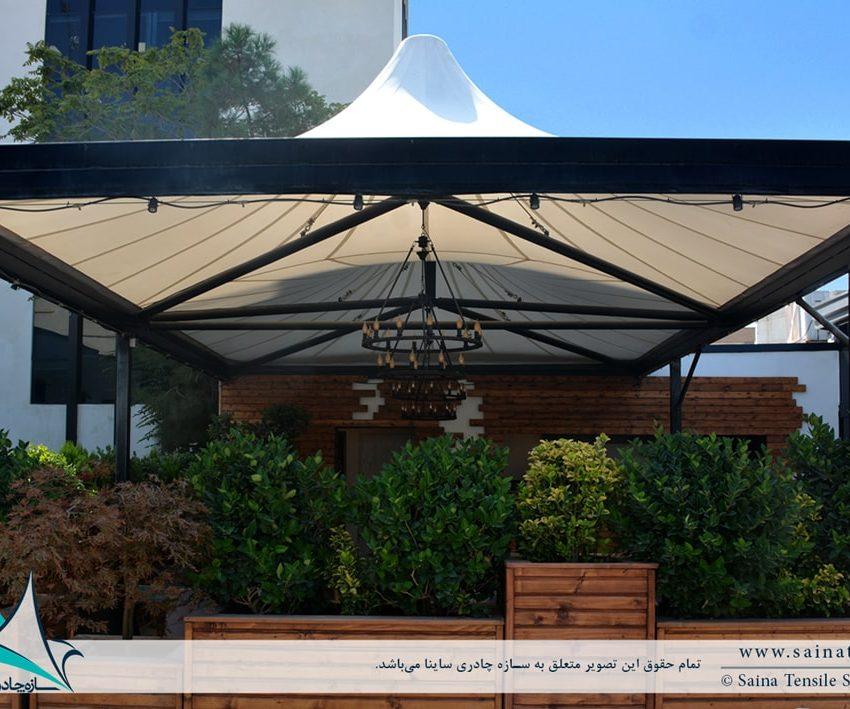 طراحی و اجرای سقف چادری کافه رستوران ایستگاه نوآوری دانشگاه شریف