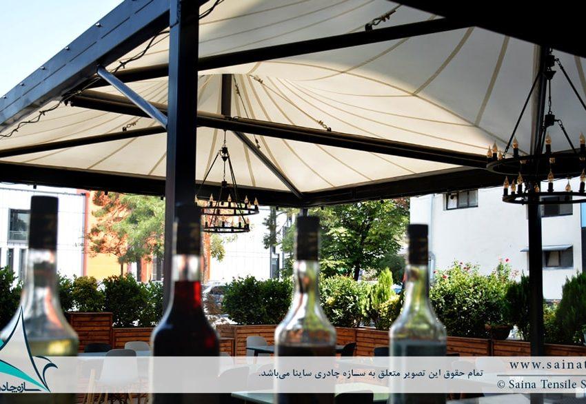طراحی و ساخت سقف چادری کافه رستوران در ایستگاه نوآوری دانشگاه شریف
