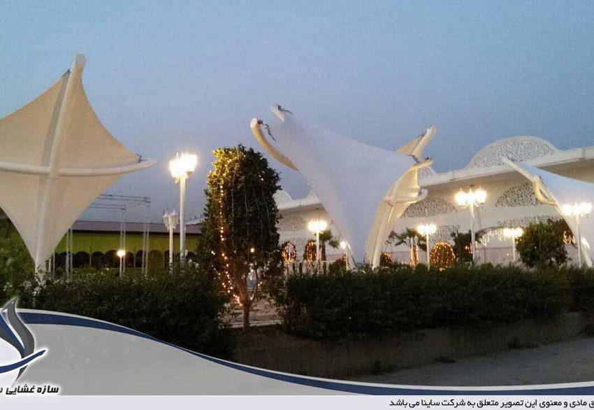 پروژه اجرای سایبان دکوراتیو باغ تالار جزیره آبی