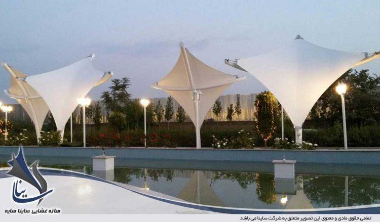 طراحی و اجرای سایبان دکوراتیو باغ تالار جزیره آبی