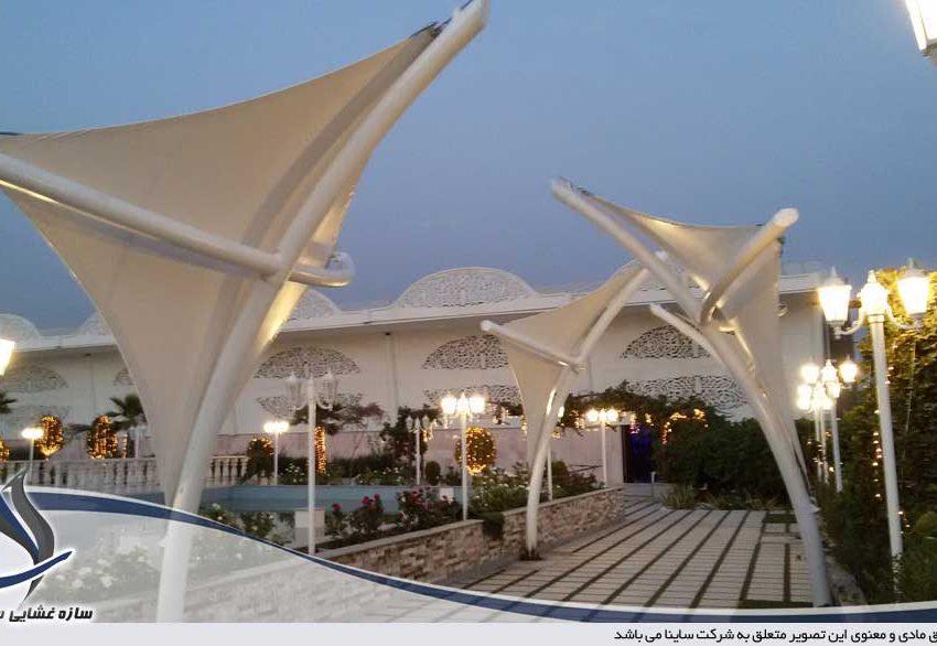 پروژه سایبان دکوراتیو باغ تالار عروسی
