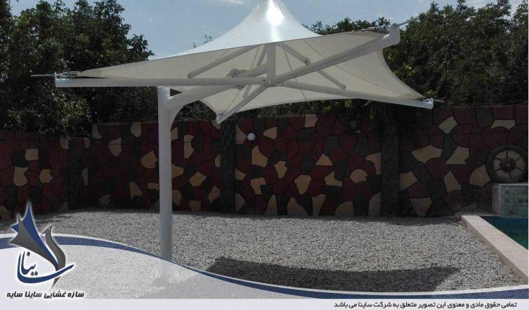 پروژه اجرای سایبان چادری استخر طرح سانشید در باغ شهریار