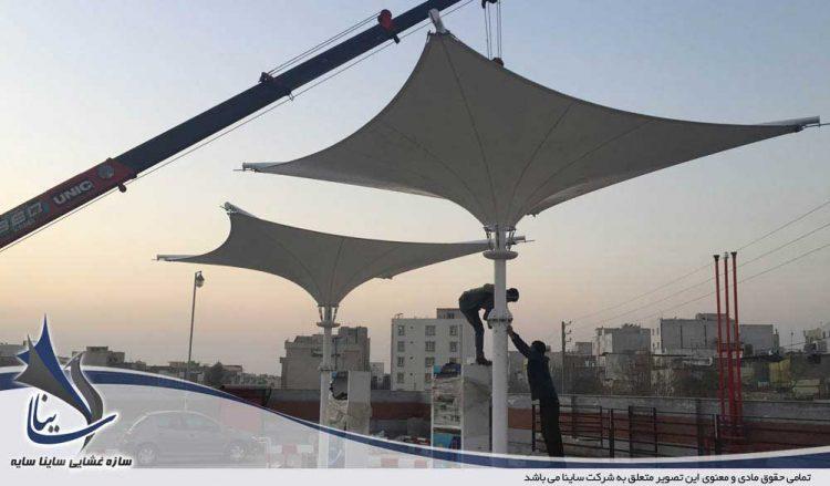 طراحی و اجرای سایبان پارچه ای پمپ بنزین در شرکت پتران