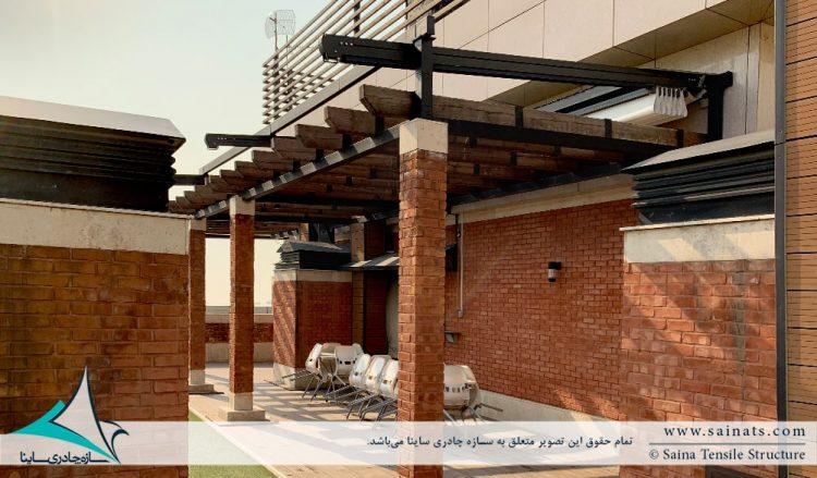 طراحی و اجرای سقف متحرک روفگاردن در آجودانیه