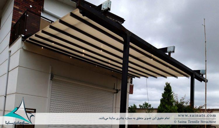 طراحی و اجرای پروژه سقف متحرک پارچه ای ویلا گیلان