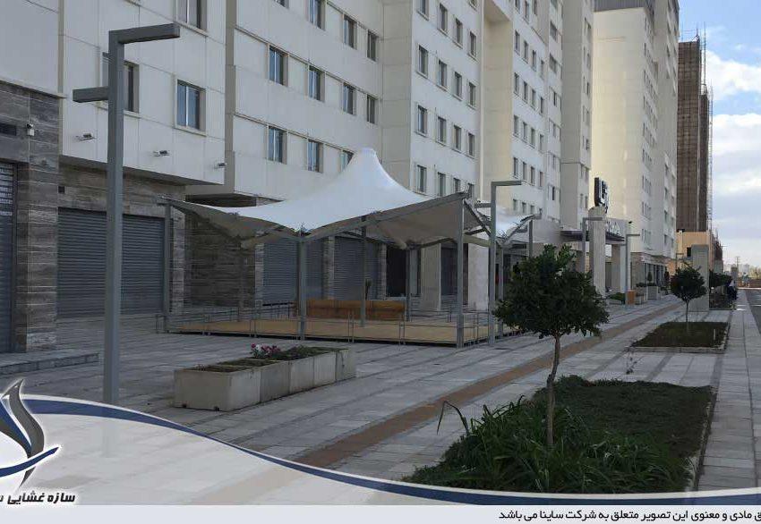 طراحی و اجرای سایبان چادری طرح پاگودا در قزوین