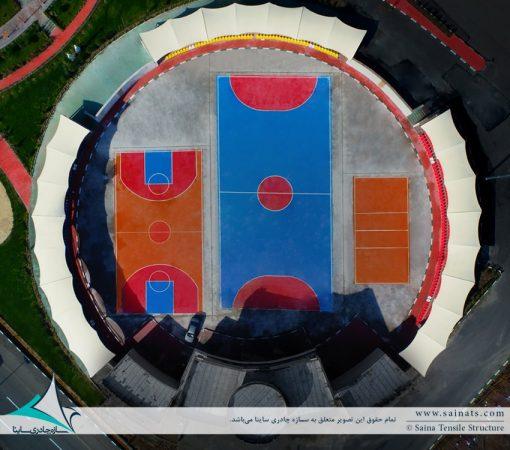اجرای سایبان جایگاه تماشاچیان ورزشگاه شهدای هسته ای پرند