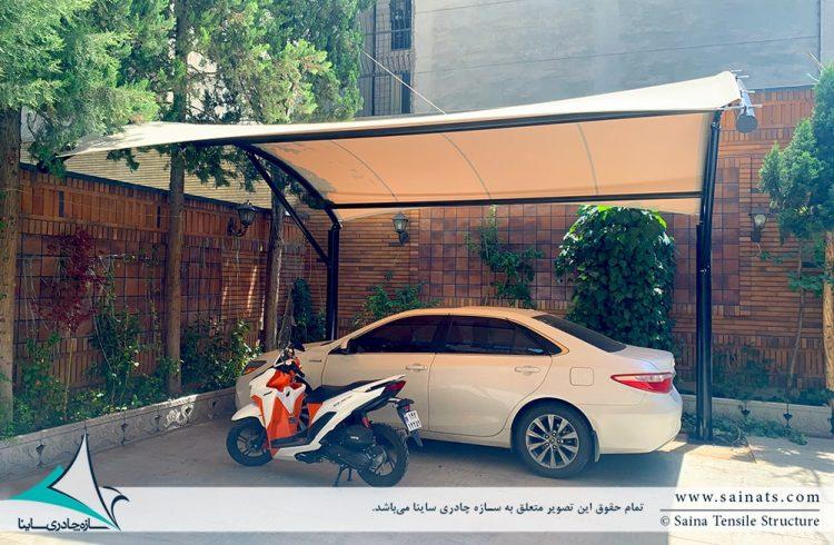 اجرای سایبان پارکینگ ساختمان مسکونی پاسداران