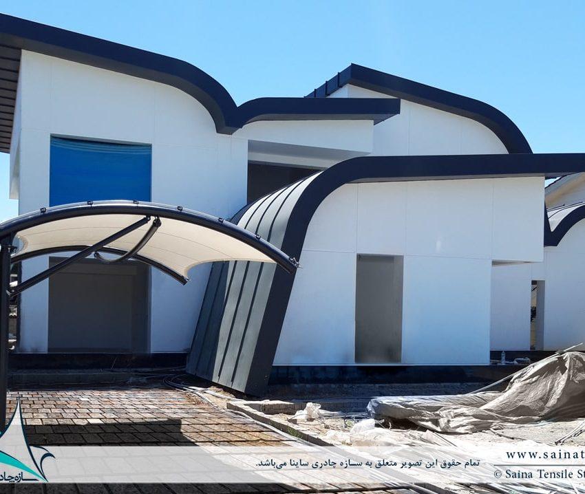 طراحی سایبان پارکینگ ویلا خزرشهر