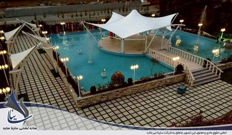 پروژه اجرای آلاچیق پارچه ای فرم پاگودا باغ تالار جزیره آبی
