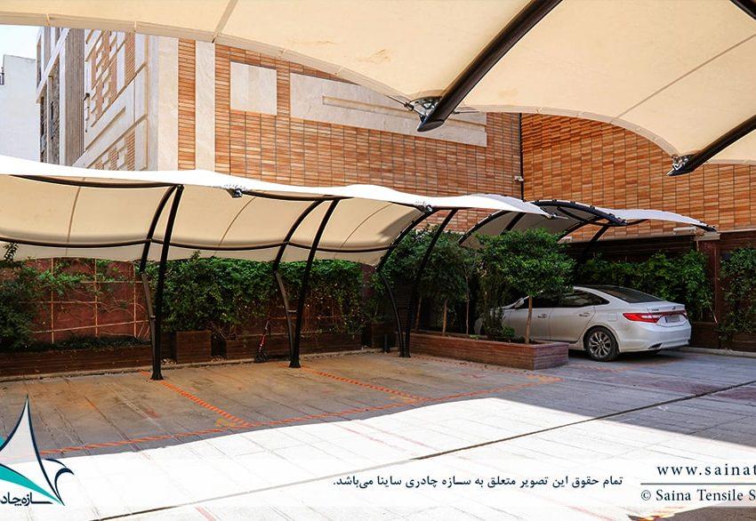 اجرای سایبان پارکینگ مجتمع مسکونی