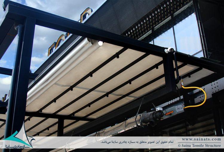 اجرای سقف جمع شونده رستوران فلای لند فود پارک