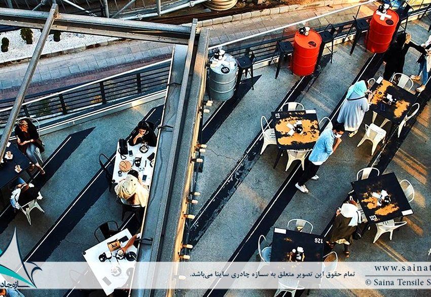اجرای سقف جمع شونده رستوران