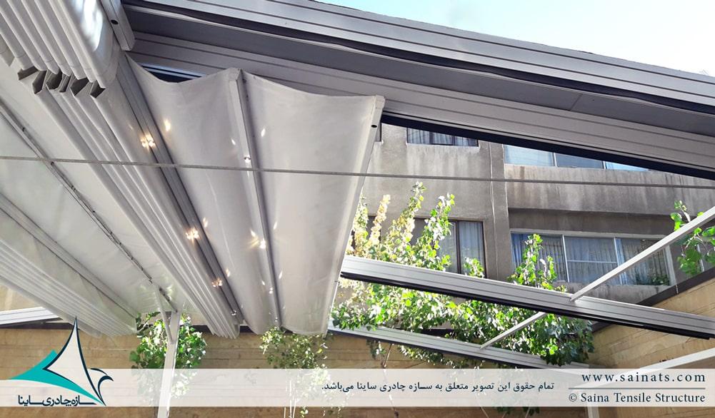 اجرای سقف جمع شونده پارچه ای دفتر شرکت هوایار