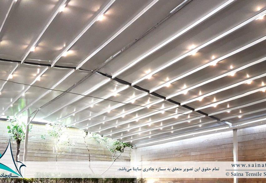 طراحی و اجرای سقف جمع شونده پارچه ای دفتر شرکت هوایار
