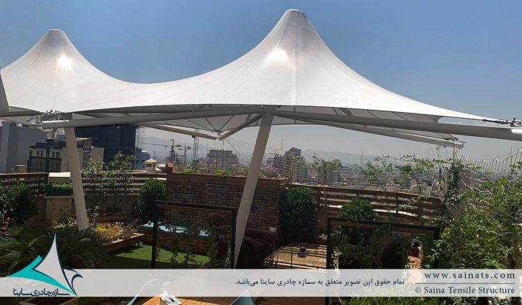 اجرای سایبان روفگاردن به فرم خیمه دو قله در کارگزاری مهرآفرین