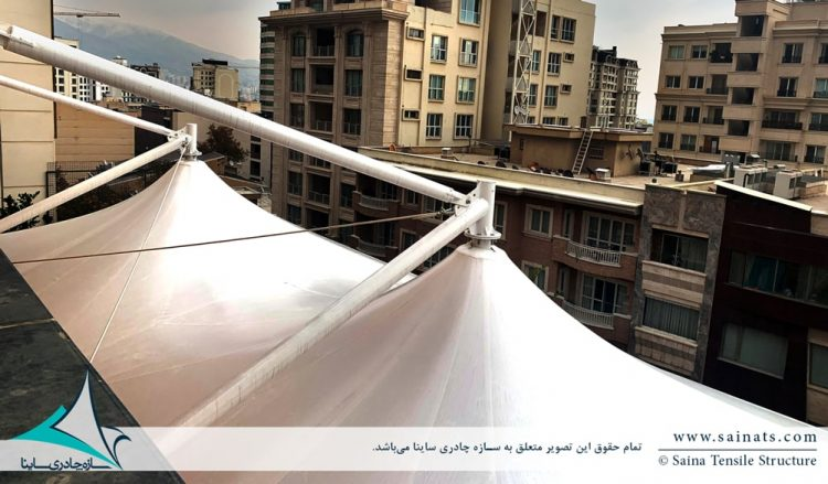 طراحی و اجرای سایبان پارچه ای روفگاردن در محمودیه