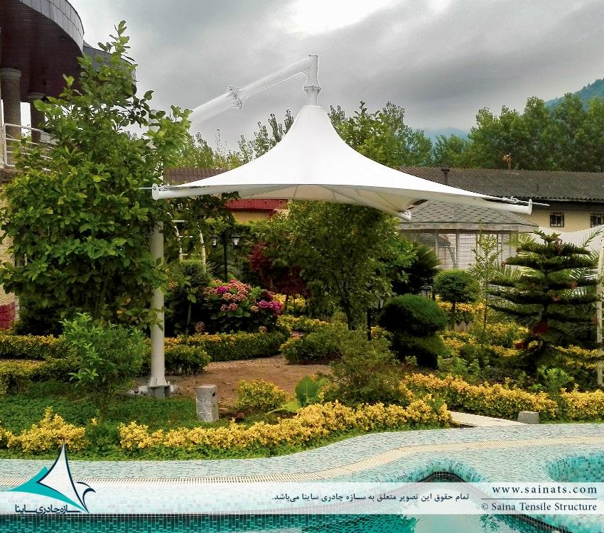 پروژه اجرای سایبان چادری استخر ویلا در کهنه سری