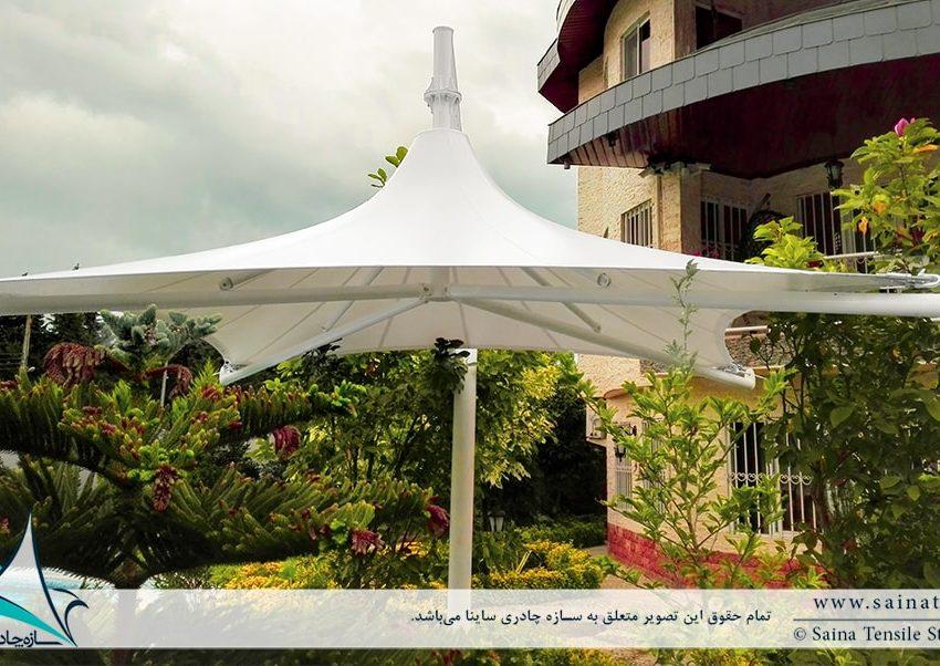 طراحی و اجرای سایبان چادری استخر ویلا در کهنه سری