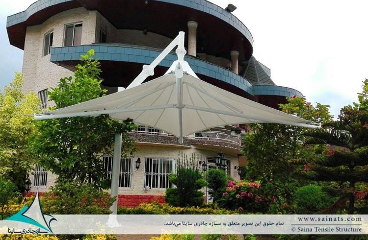 طراحی سایبان چادری استخر ویلا در کهنه سری