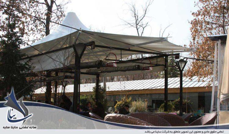 طراحی و اجرای سایبان چادری کافه شمرون در باغ موزه هنر ایرانی
