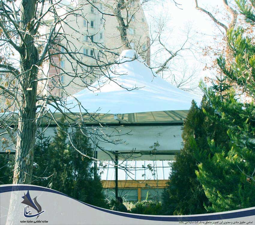 سایبان چادری کافه شمرون در باغ موزه هنر ایرانی