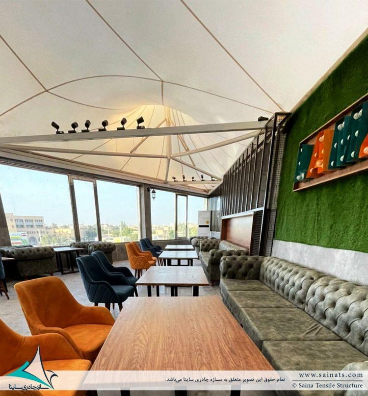 سقف پارچه ای به فرم خیمه دوقله مجموعه لمزی در اهواز