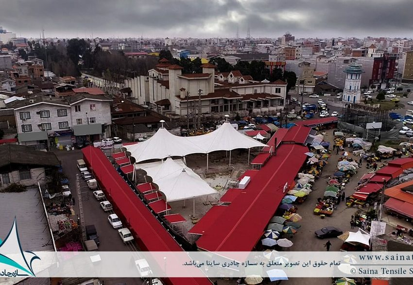 سازه پارچه ای به فرم خیمه دوقله در بازار روز بابل