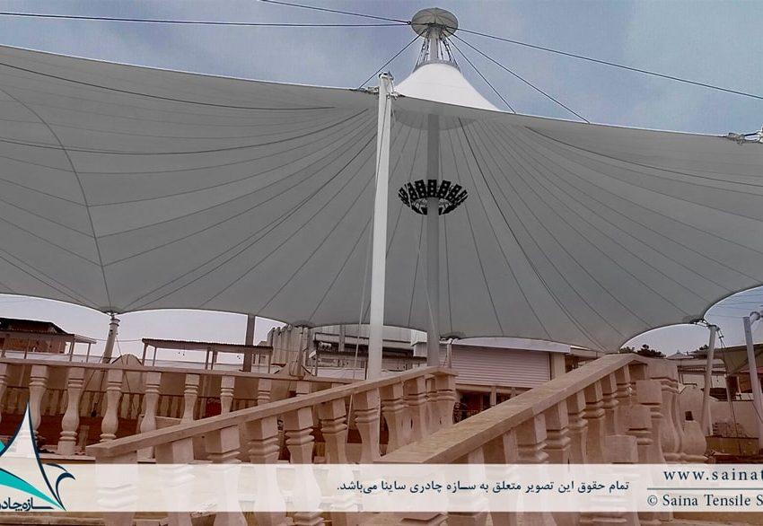طراحی و اجرای سازه پارچه ای به فرم خیمه دوقله در بازار روز بابل