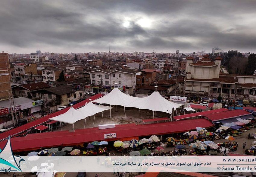 اجرای سازه پارچه ای به فرم خیمه دوقله در بازار روز بابل