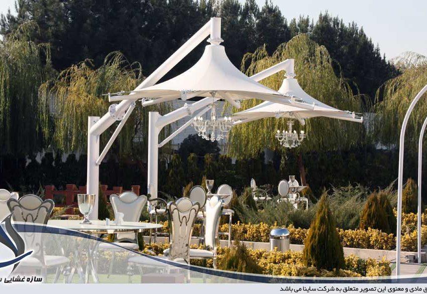 طراحی و اجرای سایبان چادری طرح سان شید در باغ تالار تاج