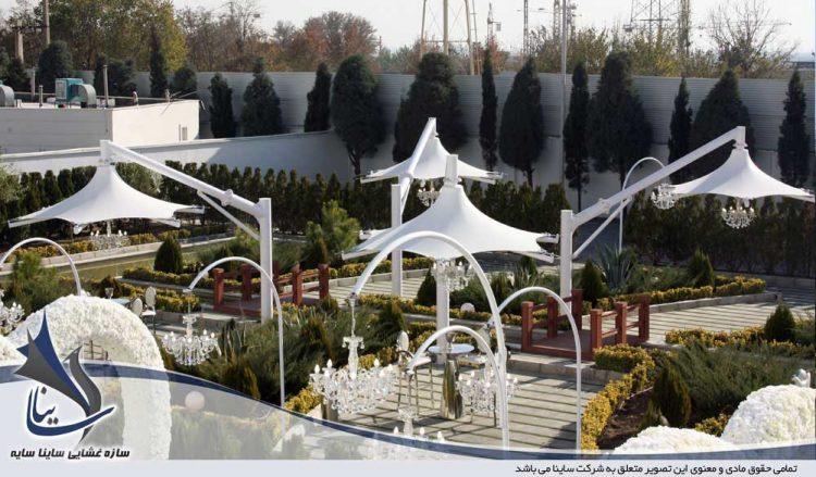 پروژه اجرای سایبان چادری طرح سان شید در باغ تالار تاج