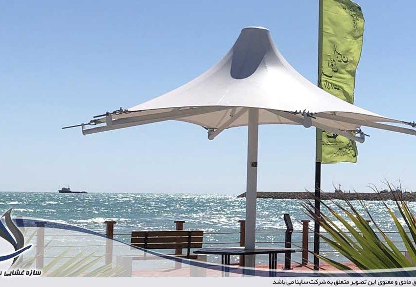 اجرای آلاچیق ساحلی در پارک ارمغان بندر لنگه