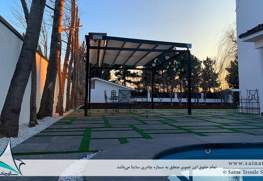 طراحی و اجرای سقف متحرک پارچه ای آلاچیق ویلا در زیبادشت