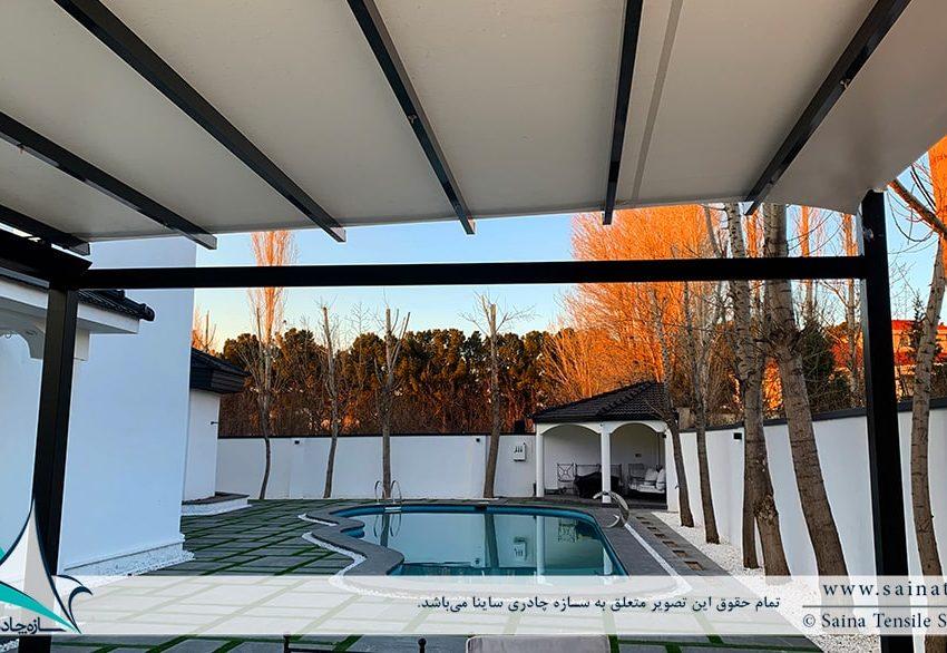 سقف متحرک پارچه ای آلاچیق ویلا در زیبادشت