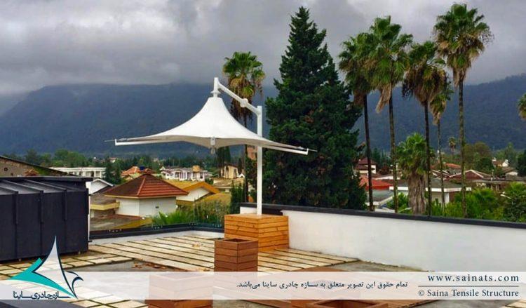 طراحی و اجرای سایبان پارچه ای روفگاردن طرح سانشید در نوشهر