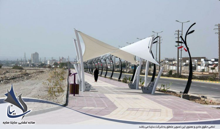 طراحی و اجرای سایبان چادری پیاده راه در برازجان